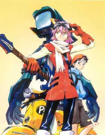 Ilustración de Yoshiyuki Sadamoto para FL CL (2000).