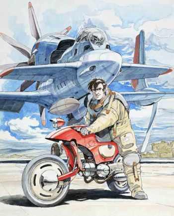 Ilustración original de Yoshiyuki Sadamoto para Royal Space Force: Wings of Honnêamise (1987).