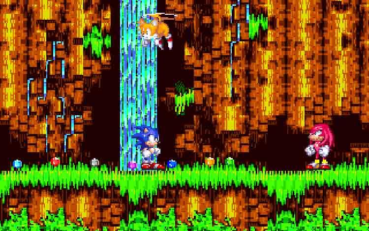 Sonic y Tails junto a Knuckles en Sonic 3 & Knuckles (1994, Sega Megadrive).