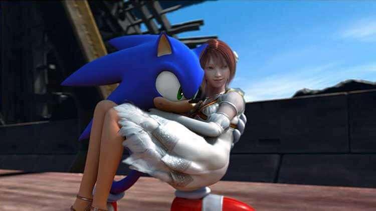 Sonic con la princesa Elise, en Sonic the Hedhehog (2006).