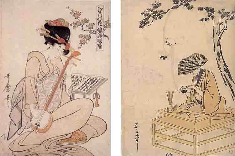 A la izquierda, cuadro deK. Utamaro, a la derecha, otra de T. Sekien