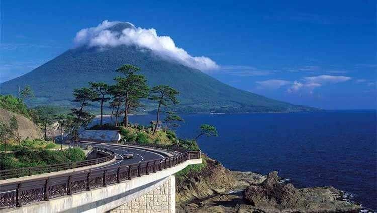 Vista del Monte Aso, un volcán activo, en pleno Kyushu