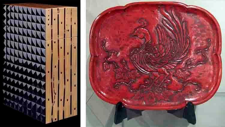 A la izquierda, ejemplo de chositsu. A la derecha pieza en kamakura-bori