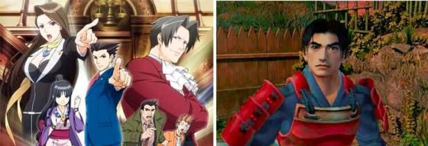 Izquierda, imagen promocional de la serie de animación de Phoenix Wright (2016). A su derecha, Takeshi Kaneshiro como Samanosuke en Onimusha: Warlords (2001).