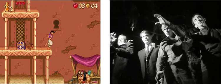A la izquierda, captura de Aladdin, de 1993, y a su derecha, The Night of the Living Dead (1968), de George Andrew Romero, una de sus mayores influencias a nivel creativo. Podemos comprobar que Mikami sería un hombre de recursos, ya que poco tenía que ver la temática de un videojuego de Disney con los muertos vivientes.