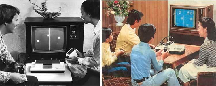 Izquierda, usuarios jugando con la Magnavox Odyssey original de 1972. Derecha, familia japonesa jugando con el modelo 112 Racing de Color TV-Game.