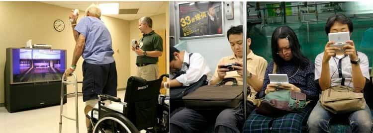 Anciano jugando a Nintendo Wii (en algunos centros médicos incluso se utiliza esta videoconsola en terapias de rehabilitación). A la derecha, jóvenes japoneses en el metro, con videoconsolas portátiles de Nintendo y Sony (PSP y DS).