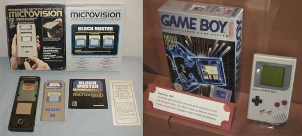 Videoconsola Microvision, de Milton Bradley, y una Gameboy expuesta en el museo V&A Museum of Childhood, en Londres.