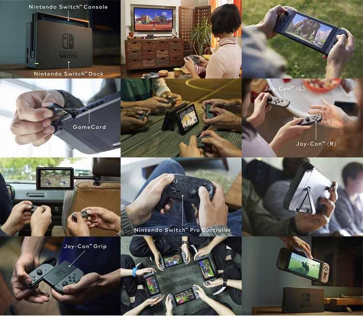 En esta imagen proporcionada por Nintendo, podemos apreciar la multitud de posibilidades distintas de uso de esta nueva videoconsola (la opción de jugar en casa, en modo sobremesa, la posibilidad de jugar con varias personas en un mismo sistema, de forma portátil, pero como si jugásemos a una sobremesa, etc.).