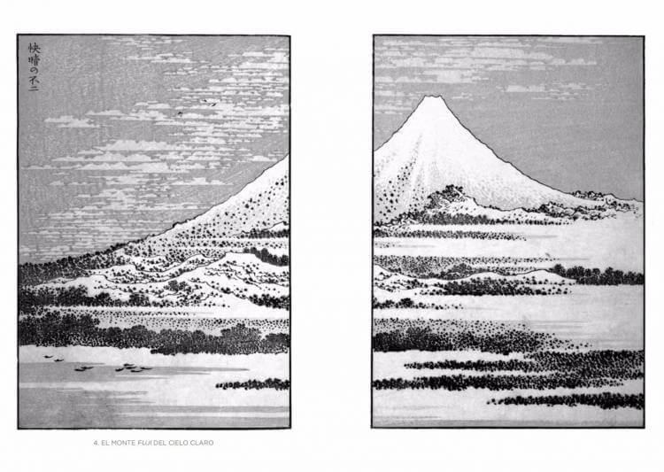 """Aquí tenemos una de las imágenes del libro """"Cien vistas del monte Fuji""""."""