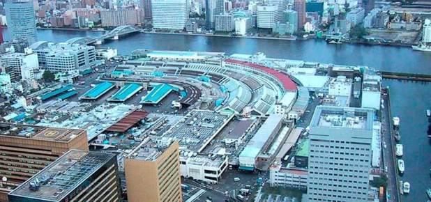 Vista aérea del mercado de Tsukiji desde Shiodome