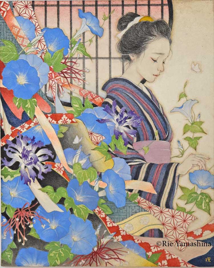 Sin título, creada en 2017 por la portada de «Mirada Eisen» 27.3cm x 22cm Materiales: 雲肌麻紙に岩絵具、水彩絵具、鉛筆、金泥