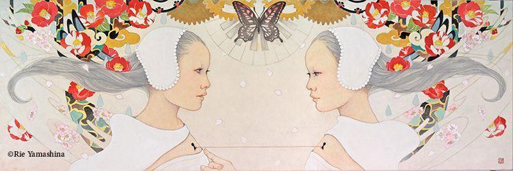 «Silent World» en 2013 90cm x 30cm Materiales: 雲肌麻紙に岩絵具、水彩絵具、鉛筆、金泥、千代紙