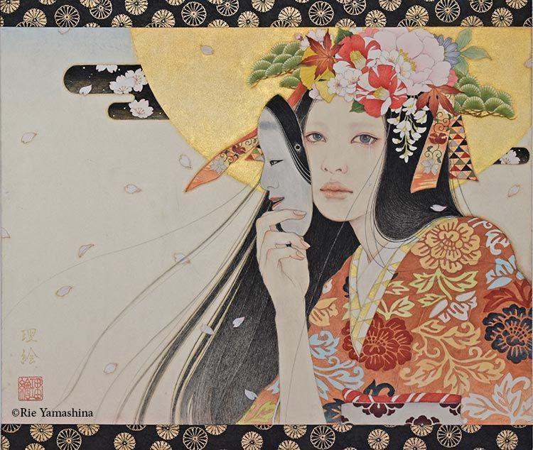 «Onore no Hana (己ノ花) Las flores propias」de 2017 530cm x45.5cm Materiales: 雲肌麻紙に岩絵具、水彩絵具、鉛筆、墨、金泥、千代紙