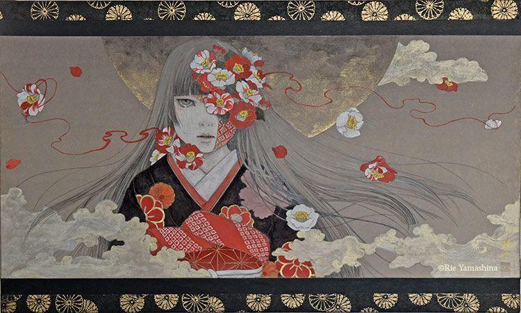 «Shu ni somarishimono (朱に染まりし者)» creada en 2016 para la portada de «Zuunome Ningyo».      45.5cm x 27.3cm Materiales: 雲肌麻紙に岩絵具、水彩絵具、鉛筆、金泥、千代紙