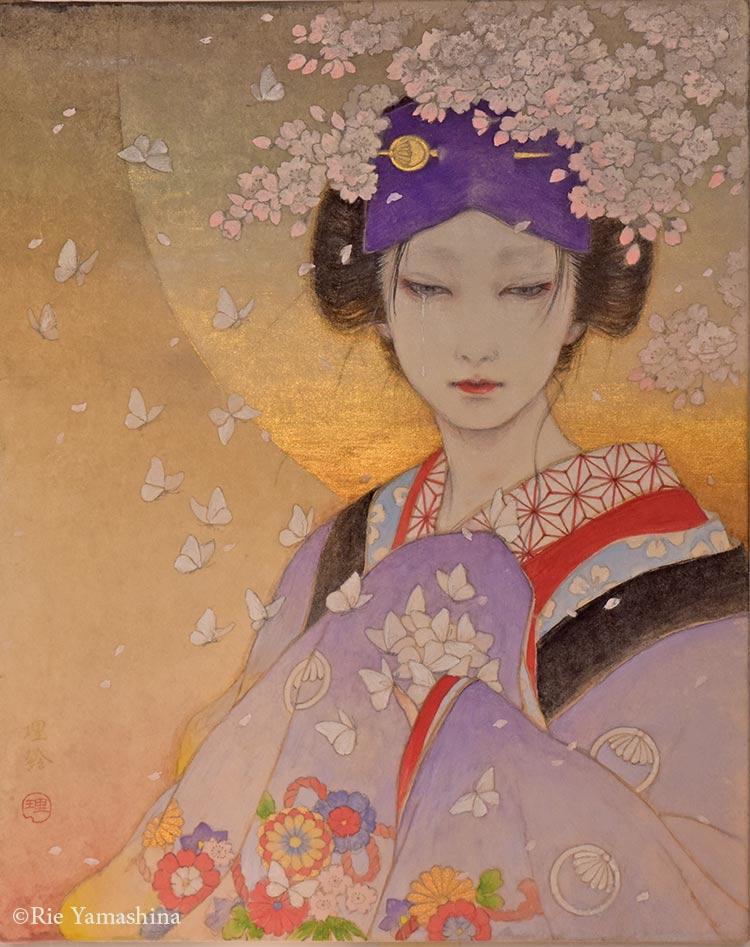 Sin título, creada en 2016 para la portada de «Hanayami» 27.3cm x 22cm Materiales:雲肌麻紙に岩絵具、水彩絵具、鉛筆、金泥