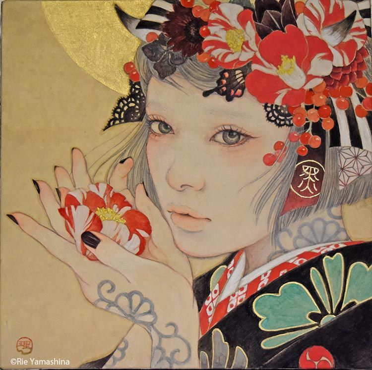 «Koku no Ayakashi (黒ノ妖), La negra ilusión」de 2016 20cm x 20cm Materiales: 雲肌麻紙に岩絵具、水彩絵具、鉛筆、金泥、千代紙