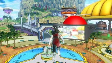 El Patrullero del Tiempo de Xenoverse 2, nuestro avatar personalizado; sobrevolando Ciudad Conton, el lugar que nos servirá de base de operaciones en este videojuego para acceder a todos los modos de juego, objetos, equipamiento y habilidades.