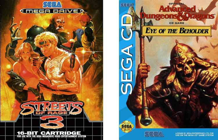 Carátulas de Streets of Rage 3 y Eye of the Beholder.