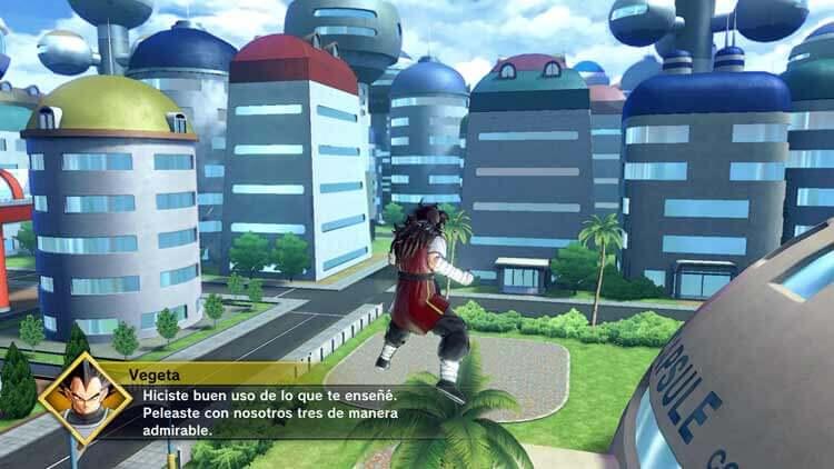 Nuestro personaje, sobrevolando la zona de la Corporación Cápsula, donde reside la familia de Bulma, una de las zonas donde podremos combatir en Dragon Ball: Xenoverse 2.