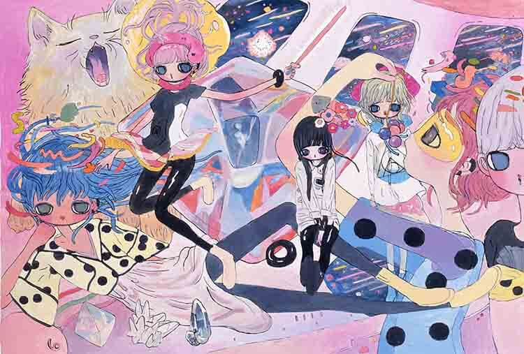 Obra de Aya Takano: Spaceship, Crystals, Girls, 2014