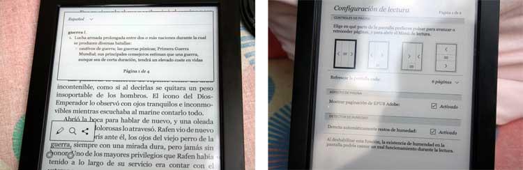 A la izquierda, el diccionario del dispositivo, empleado durante la lectura. A la derecha, distintas opciones de lectura de Kobo Aura H20.