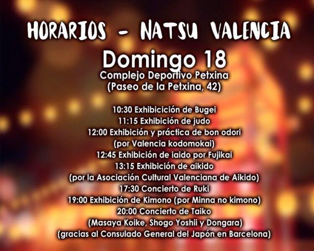 horario natsu valencia domingo