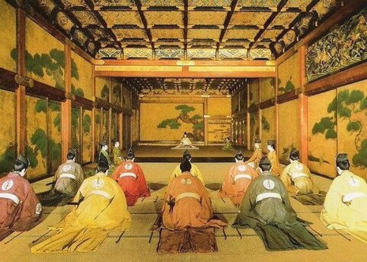 Escenificación de una audiencia de daimyô en el Castillo de Nijô en Kyôto.