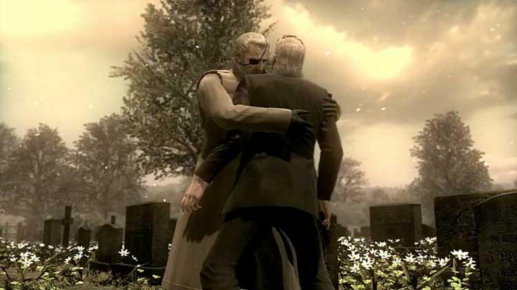 """John (Big Boss) abraza a su hijo David (Snake), y tras esto le pide que """"lo deje pasar"""", refiriéndose a su pasado como enemigos. Todo un acto de aprecio entre dos personajes que sólo han visto violencia y muerte a lo largo de sus vidas."""