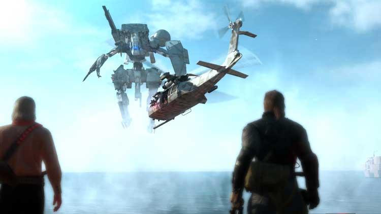 Ocelot (izquierda) junto a Snake (derecha), observan cómo los niños soldado secuestran un helicóptero siguiendo las órdenes de Eli, fugándose de la Base Madre (Mother Base), y robando también el vehículo blindado bípedo Sahelantropus.