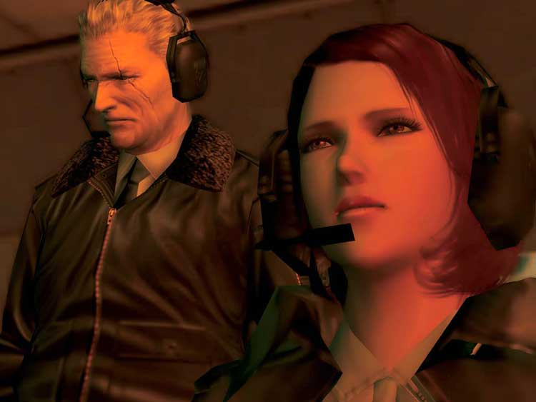 El mayor Zero (Tom) y la doctora Clarke (Paramedic). El primero, jefe de Snake en la unidad Fox, la segunda, médico y asistente de Snake durante sus misiones en Metal Gear Solid 3.
