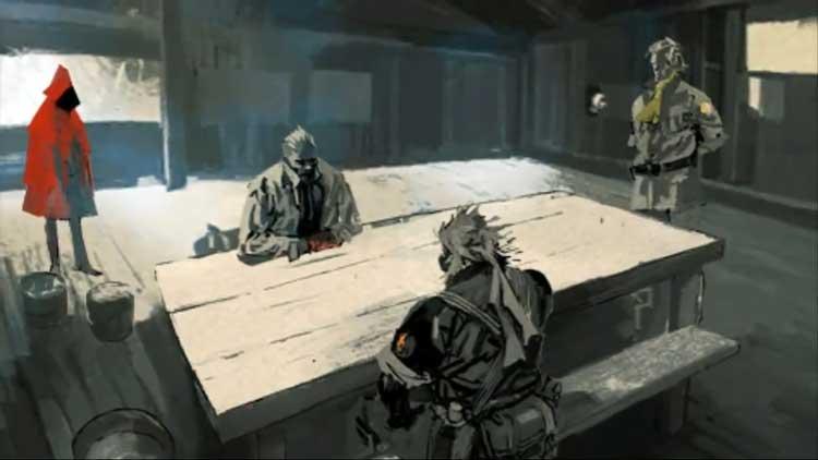 Snake ante Gálvez (Zadornov) y Paz. A la derecha, Miller. Esta imagen pertenece a una secuencia animada del videojuego Peace Walker. Estas fueron realizadas mediante la animación de ilustraciones de los artistas Ashley Wood y Yōji Shinkawa.