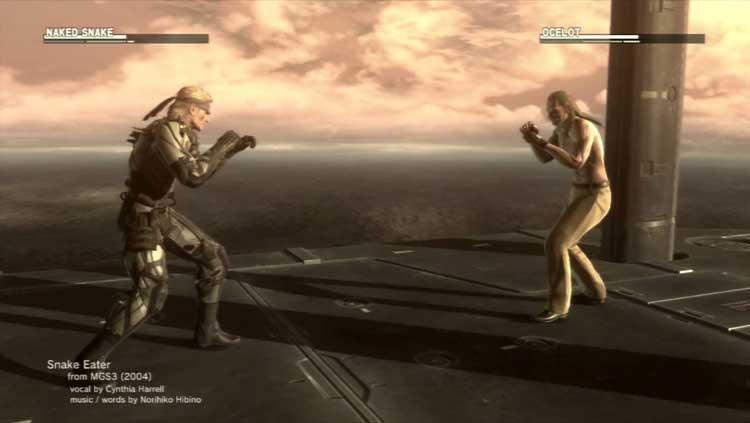 """El enfrentamiento final entre Solid Snake y Revolver Ocelot. Ocelot, será llamado """"Ocelot"""", a secas, sin el apelativo """"Revolver"""", que tendría años más tarde, tras 1964. Snake pasa a ser llamado como su padre en Metal Gear Solid 3 durante el enfrentamiento, """"Naked Snake"""", siendo incluso la barra de vida asociada a los personajes, del mismo diseño que tenía en este videojuego."""