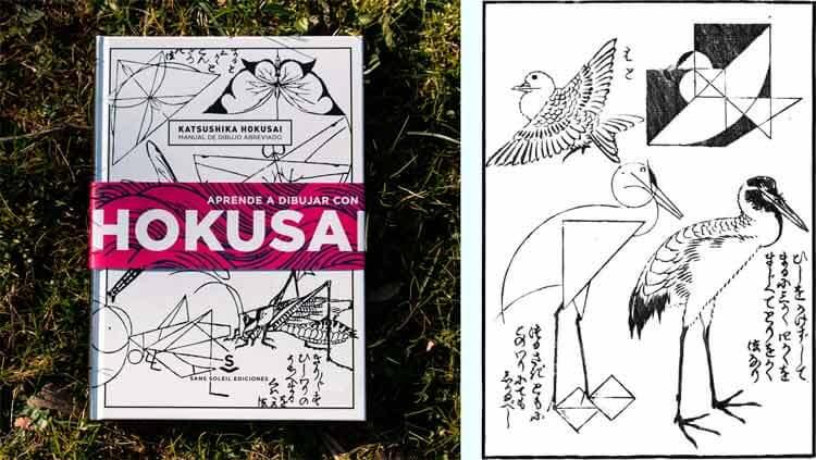 A la izquierda, portada del libro. A la derecha, una de las múltiples ilustraciones originales de Hokusai que podremos disfrutar en la publicación.