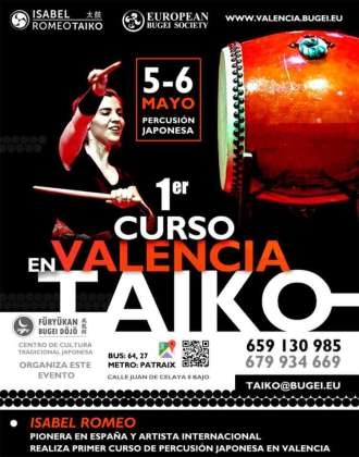 Cartel oficial del primer curso de taiko de Valencia