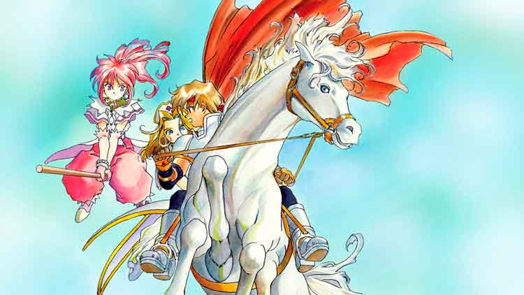Arte promocional de Tales of Phantasia, por Kōsuke Fujishima, empleado en la portada del videojuego original de 1995.