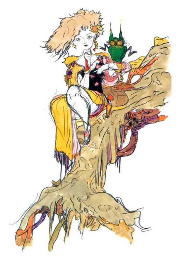 Diseño del personaje de la invocadora Rydia, de Final Fantasy IV, por Yoshitaka Amano.