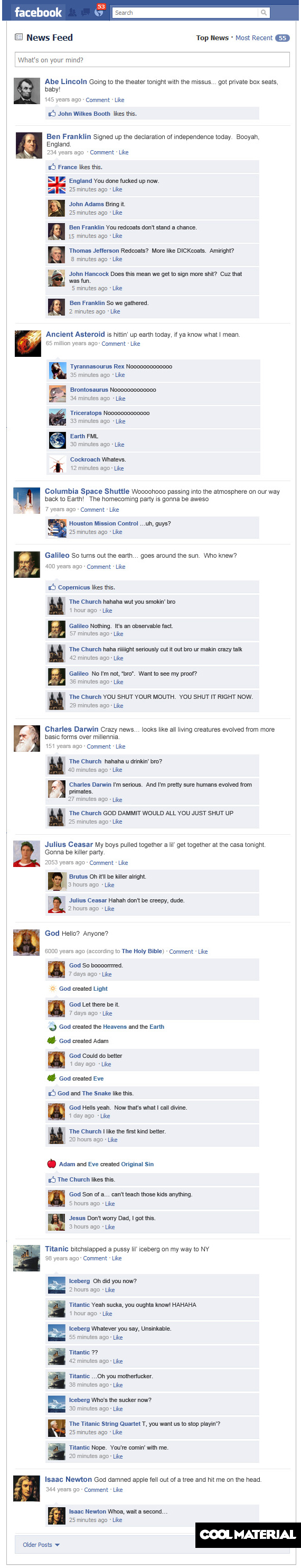 If Historical Events had Facebook Statuses