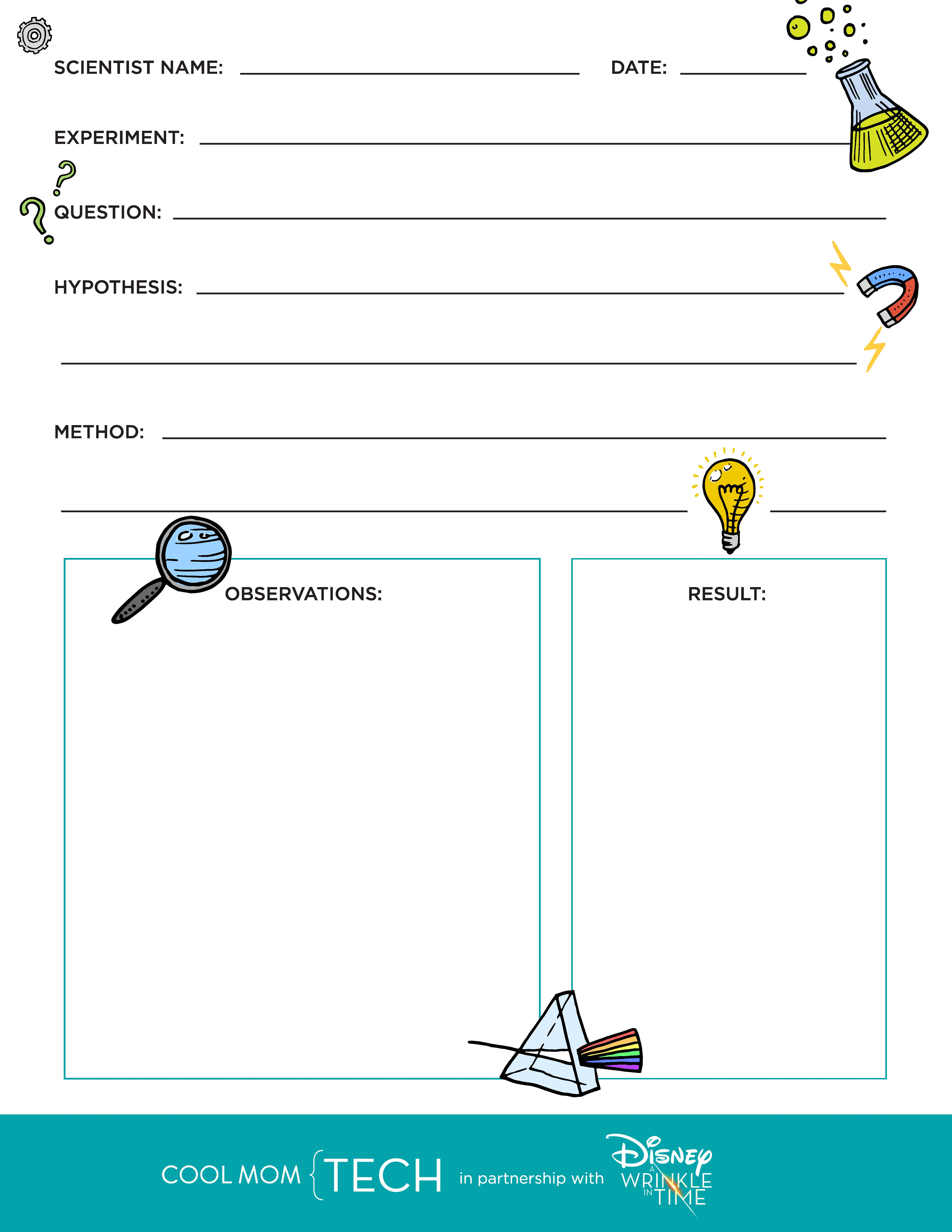 Free Printable Kids Science Experiment Worksheet