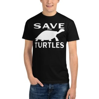 Man in blue jeans wearing a black t shirt with save the turtles on the front.