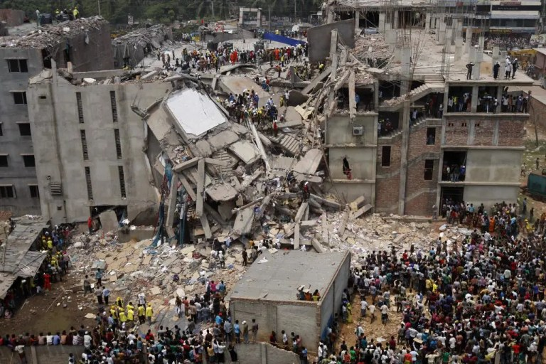 Picture of collapsed factory in Bangladesh
