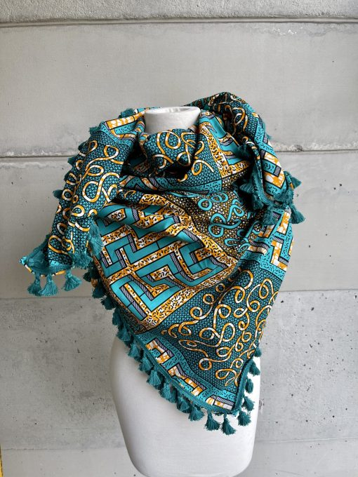Foulard turquois en carre big