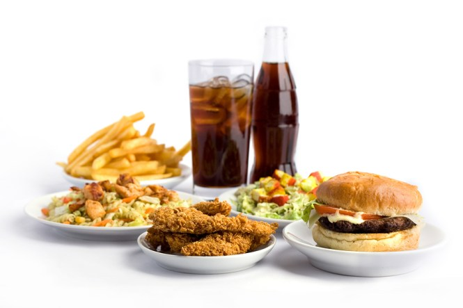 coke and deep fried foods burger and chips