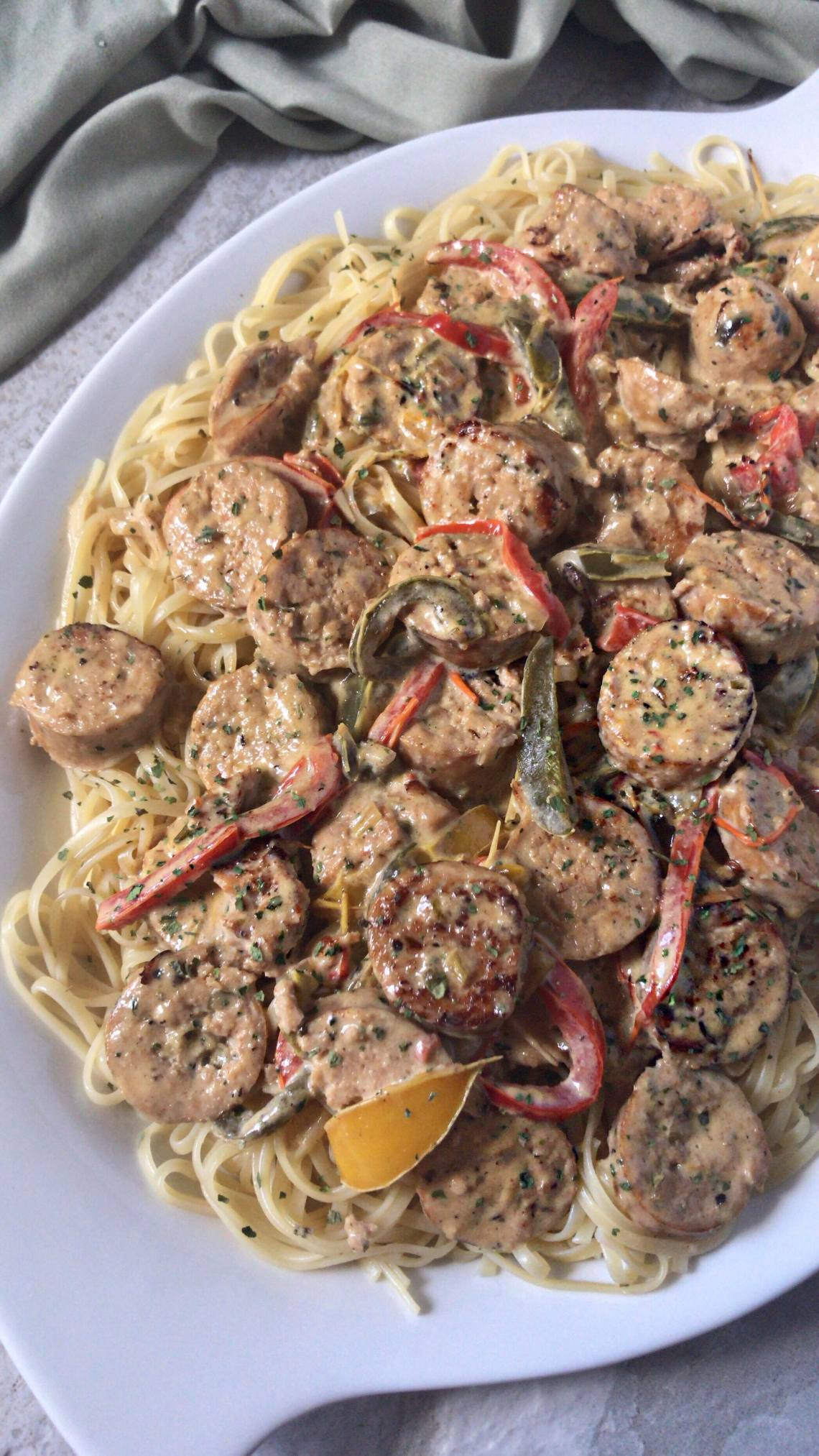 Sausage, Peppers, and Onions Linguine