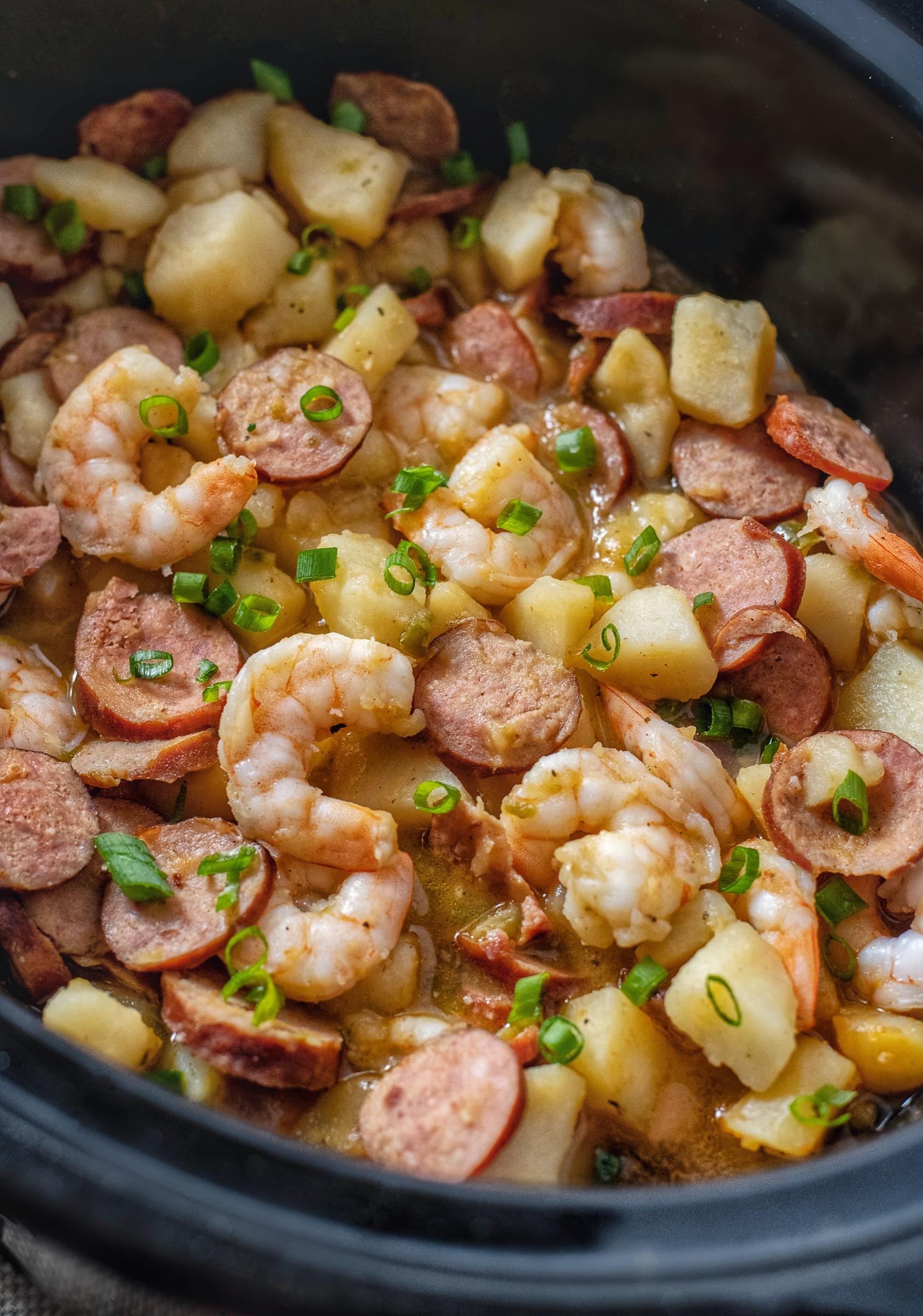 Crockpot Cajun Smothered Potatoes With Sausage And Shrimp Coop Can Cook