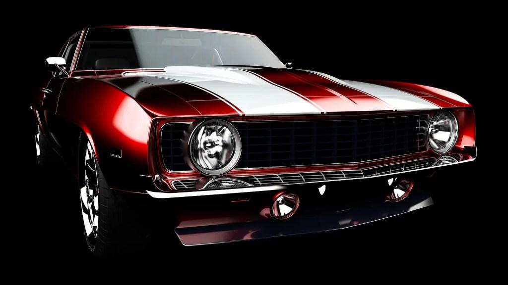 Muscle red car rendering
