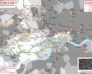 Esperanza de vida al nacimiento y pobreza infantil: visualizaciones en un mapa de Londres