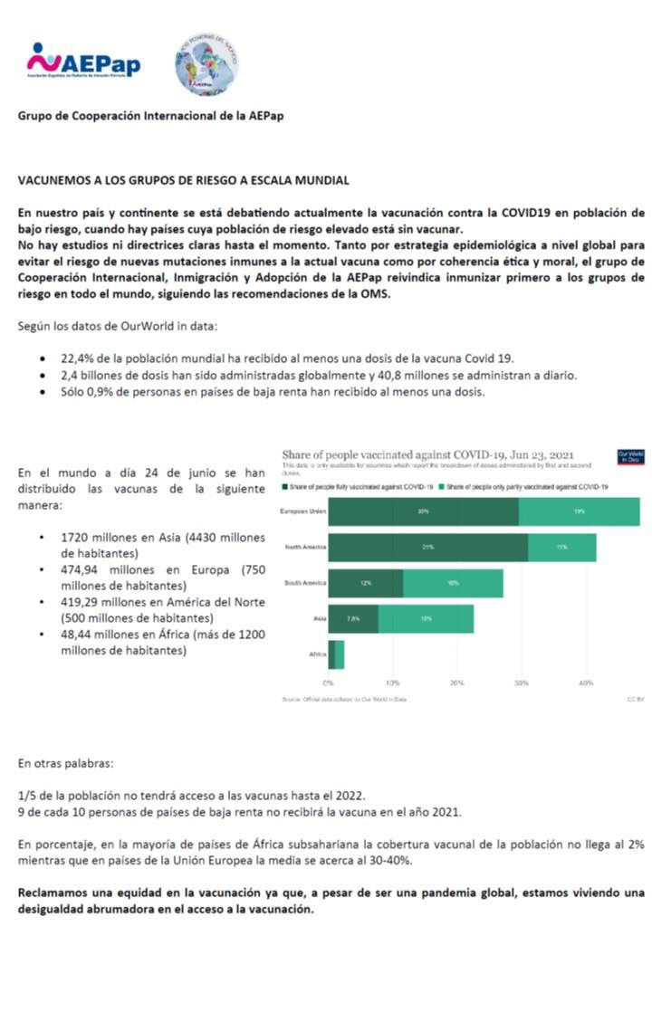 VACUNEMOS A LOS GRUPOS DE RIESGO A ESCALA MUNDIAL actualidad africa Vacuna Covid19