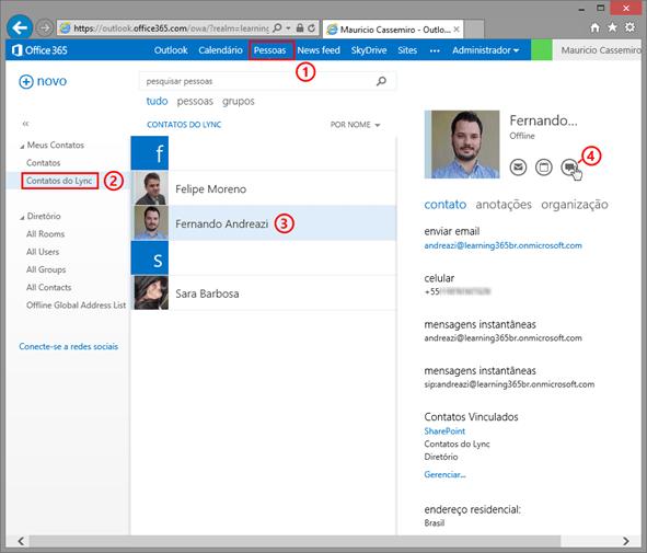 Procurando seus contatos do Lync - Lync Web Browser
