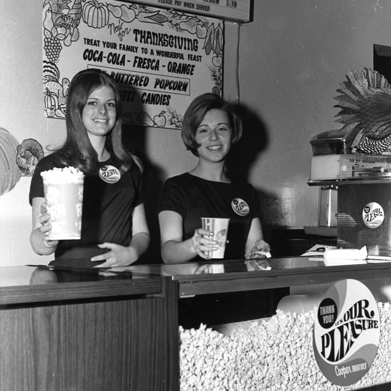 Dundee Theatre, Omaha, NE. Lobby Concession stand staff.